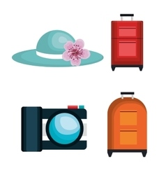 Summer travel set isolated icons vector