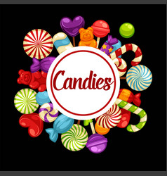 Sweet candies promotional poster with tasty vector