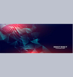 Technology banner with low poly shapes vector