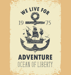 Travel banner with anchor and sailboat vector