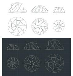 Turbine impellers blueprints set vector