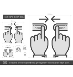 Two hand pinch line icon vector