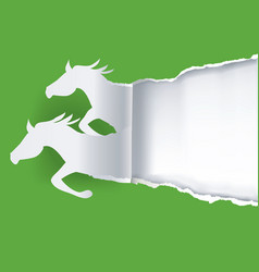 Two paper horses ripping paper vector