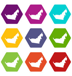 United arab emirates map icon set color hexahedron vector