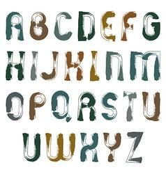 Unusual grungy font handwritten frayed watercolor vector