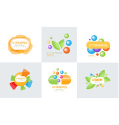 vitamins original design logo collection healthy vector image