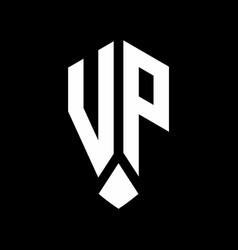 Vp logo monogram with emblem shield style design vector