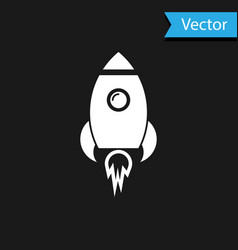 white rocket ship with fire icon isolated on black vector image