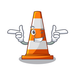 Wink traffic cone on made in cartoon vector