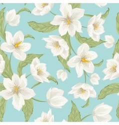 Winter rose hellebore flowers pattern light blue vector