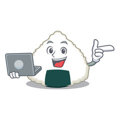 With laptop onigiri character cartoon style vector