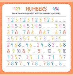 Write the numbers that will continue each pattern vector