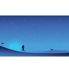 At night happy people skiing in snow landscape vector image vector image