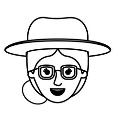 female face with glasses and hat and collected vector image vector image