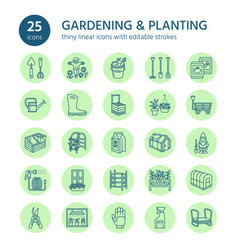 gardening planting and horticulture line icons vector image