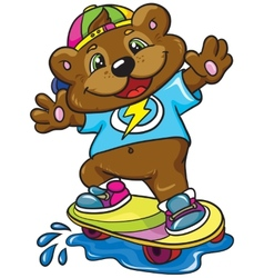 Bear skateboarder on a white background vector image