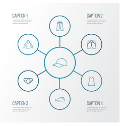 clothes outline icons set collection of vector image vector image