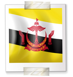 Flag of brunei on square paper vector