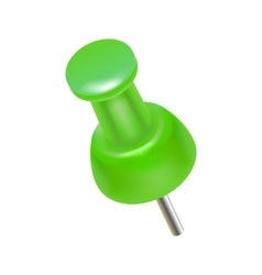 Green push pin icon realistic style vector image