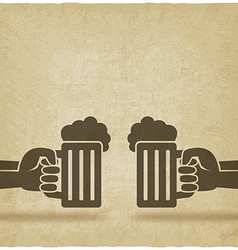 Hands with beer mugs old background vector