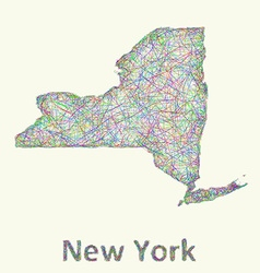 New York state line art map vector image