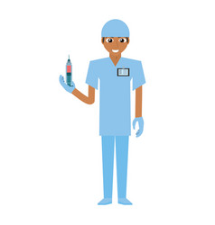 nurse male suit gloves and syringe vector image