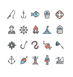 fishing sport and leisure color icon thin line set vector image