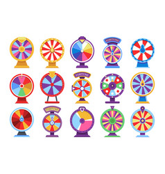 roulette fortune spinning wheels flat icons casino vector image vector image