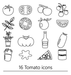 tomatoes theme black simple outline icons set vector image vector image