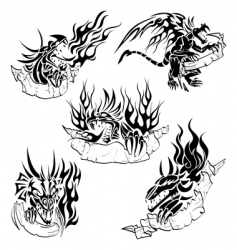tribal dragons with labels vector image vector image