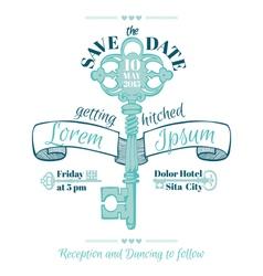 Wedding vintage invitation card - key theme vector