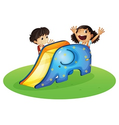 A boy and a girl playing happily vector image vector image
