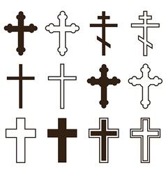 Big set of christian orthodoxy crosses vector image