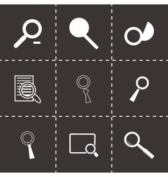 black magnufying glass icons set vector image