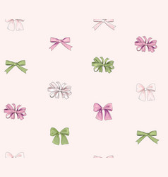 bow seamless pattern girlish fashion white vector image