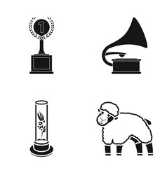 cup gramophone and other web icon in black style vector image