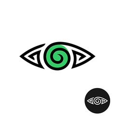 Eye logo Spiral tribal style tattoo sign Line vector image