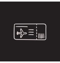 Flight ticket sketch icon vector image vector image
