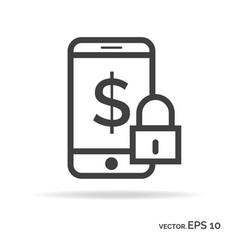 lock mobile money outline icon black color vector image