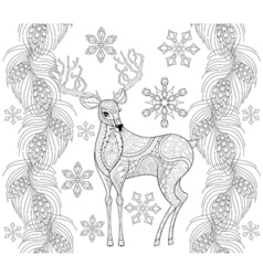 Zentangle reindeer with snowflakes fir pine branch vector image