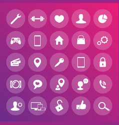 25 icons for web apps development websites vector image