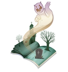 A book with an image of a graveyard vector