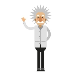 albert einstein cartoon icon vector image