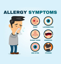 Allergy symptoms problem infographic vector