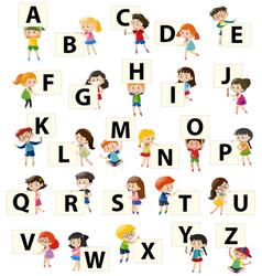 alphabet font design on square board vector image