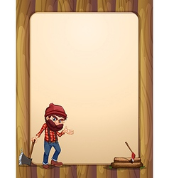 An empty wooden template with a woodman holding an vector image