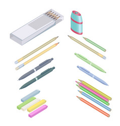 assortment of office supplies in 3d isometric vector image