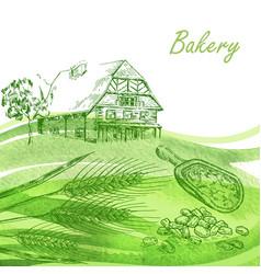Bakery set hand drawn farm house wheat grain vector