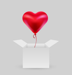 balloon in shape a heart with an open box vector image