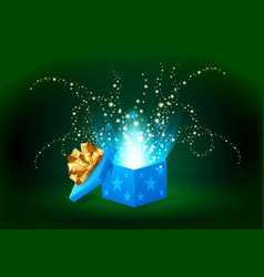 Beautiful magic light shining from a blue gift box vector